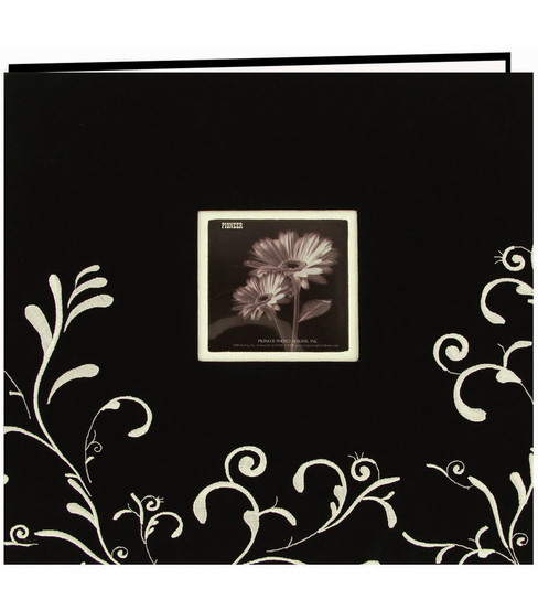 Pioneer 12\u0022x12\u0022 Embroidered Postbound Album-Black