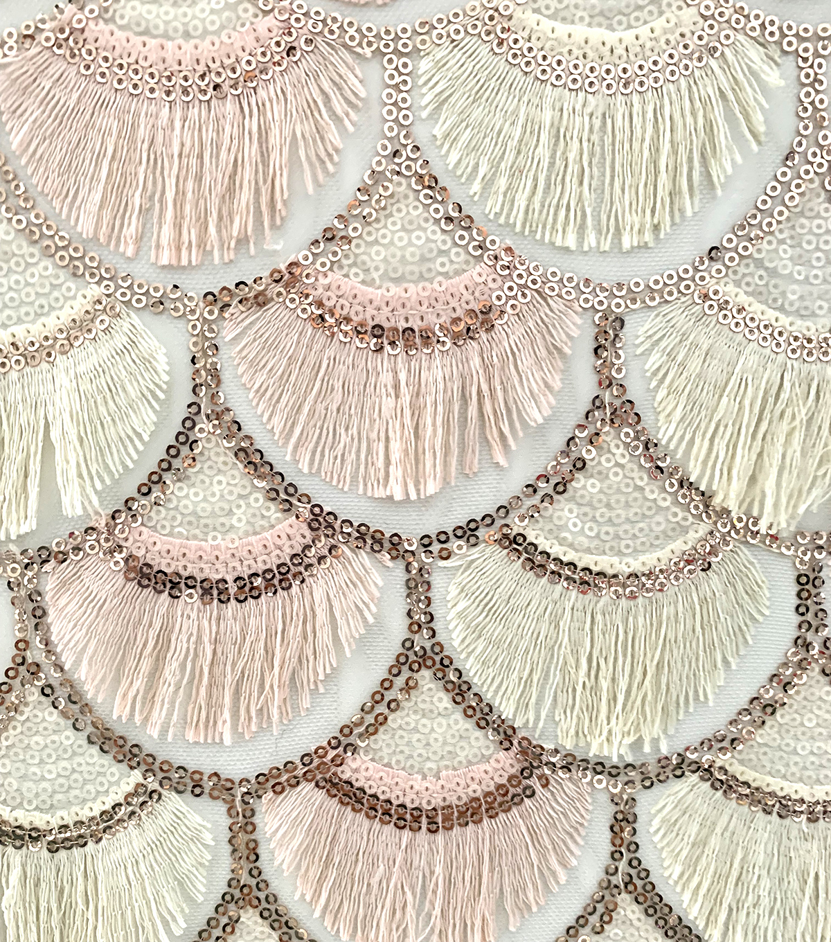 Casa Embellish Dahlia Fabric-Scallop Sequin Fringe on Mesh