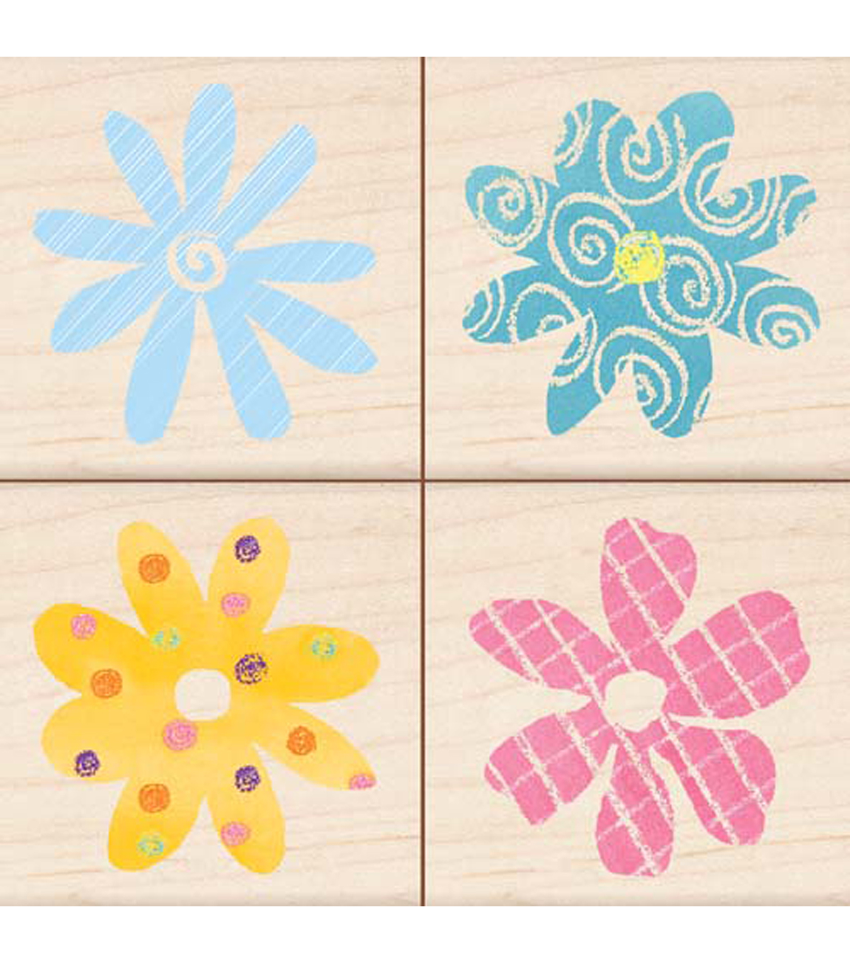 Inkadinkado Banded Pattern Flowers Set Of 4 Stamp