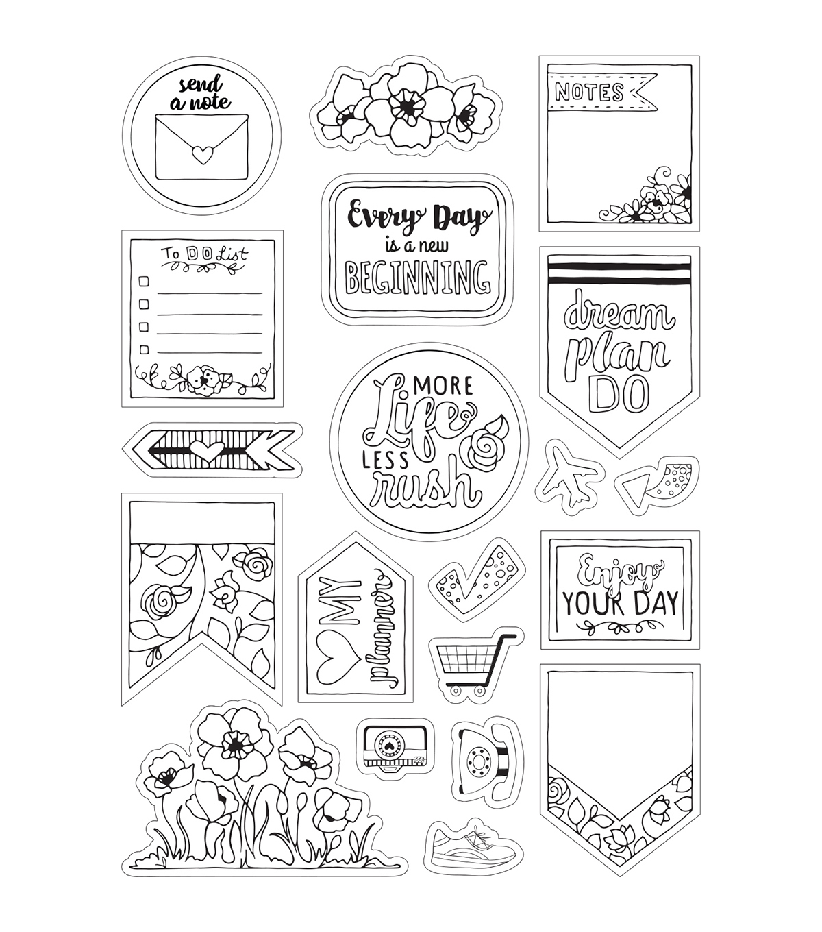 Sizzix Katelyn Lizardi 2 Pack Coloring Stickers-Color Your Planner