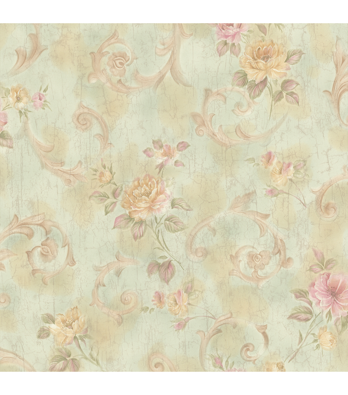 Julietta Light Green Floral Scroll Wallpaper