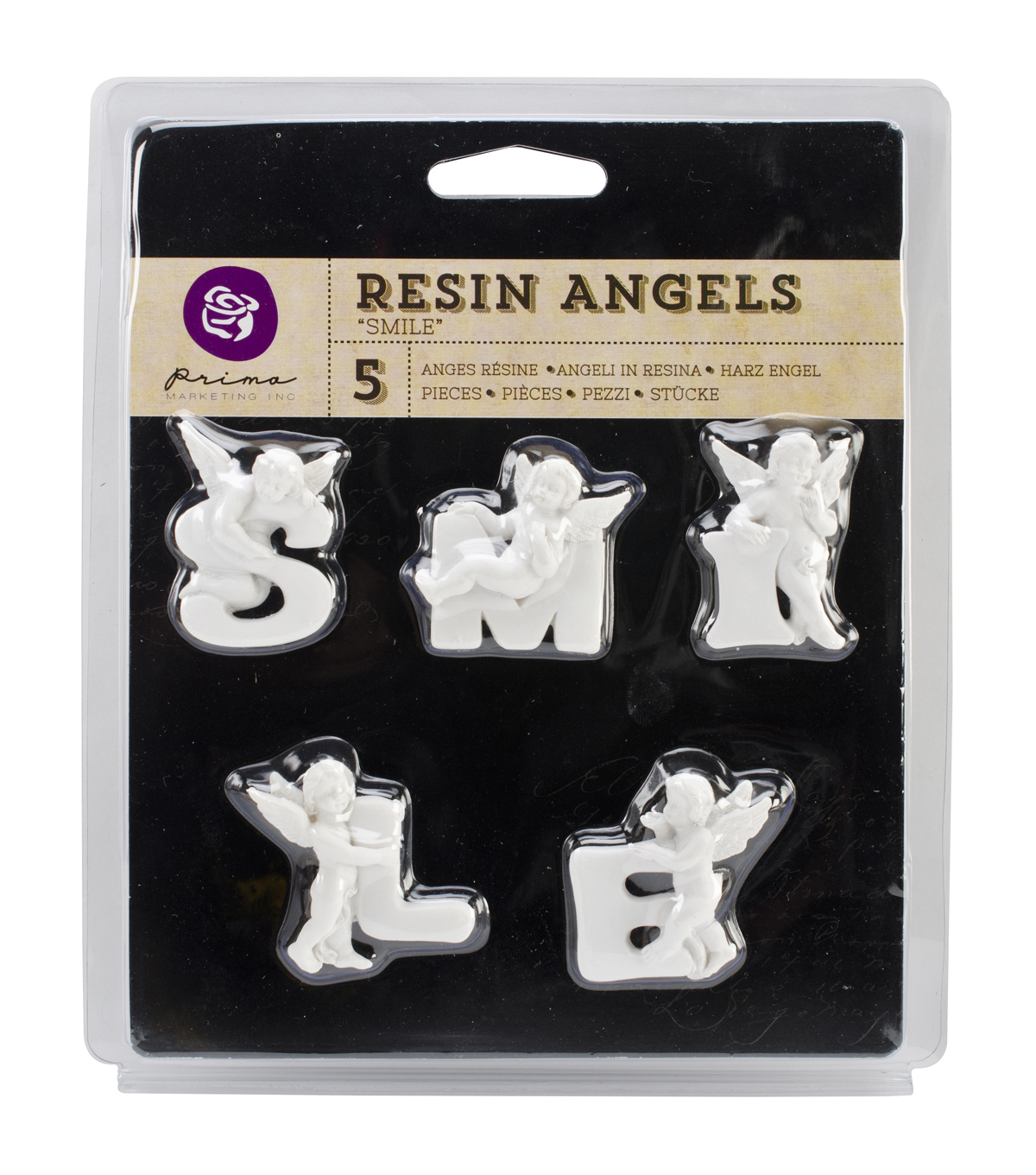 Resin Angel embellishments-Smile Word, 1\u0022 Letters