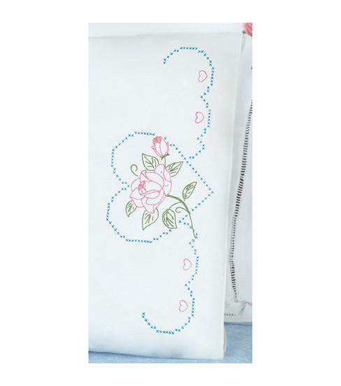Jack Dempsey Stamped Pillow Case With White Perle Edge Rose And Heart