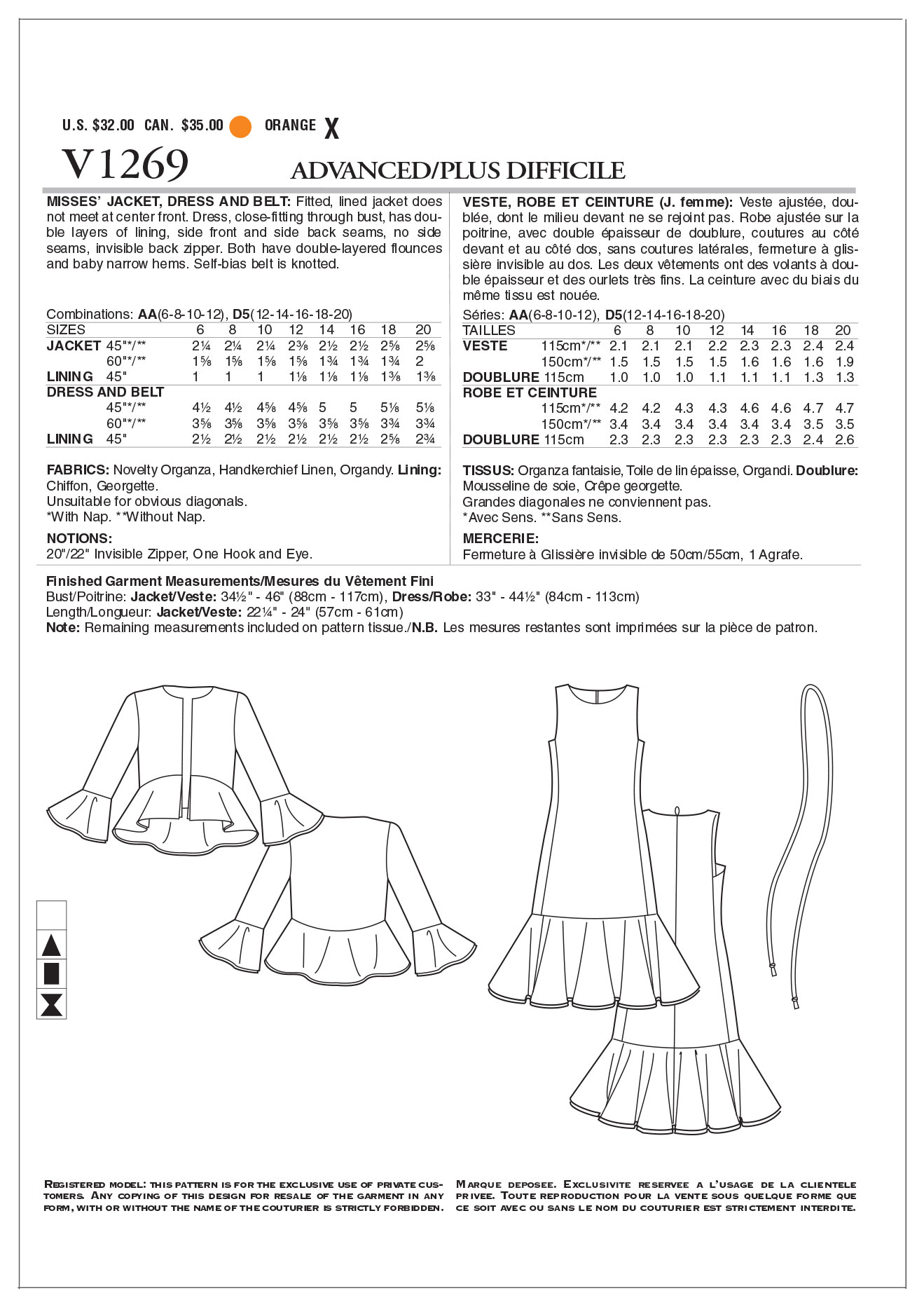 Mccall Pattern V1269 Aa (6-8-10-Vogue Pattern