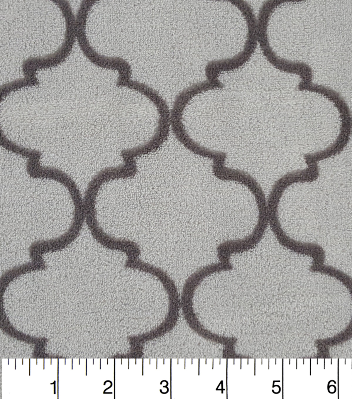 Ultra Fluffy Fleece Fabric -Gry and Gry Quatrefoil