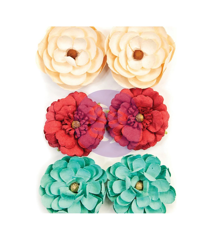 brads prima flowers ribbon buttons Embellishment Kit