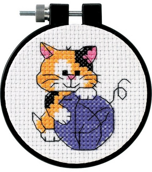 Dimensions Learn-A-Craft Counted Cross Stitch Kit Cute Kitty