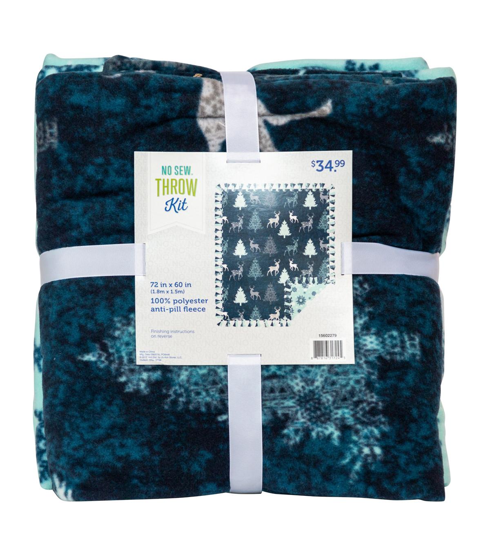 No Sew Fleece Throw 72 u0022-Winter Deer 34910c8a5