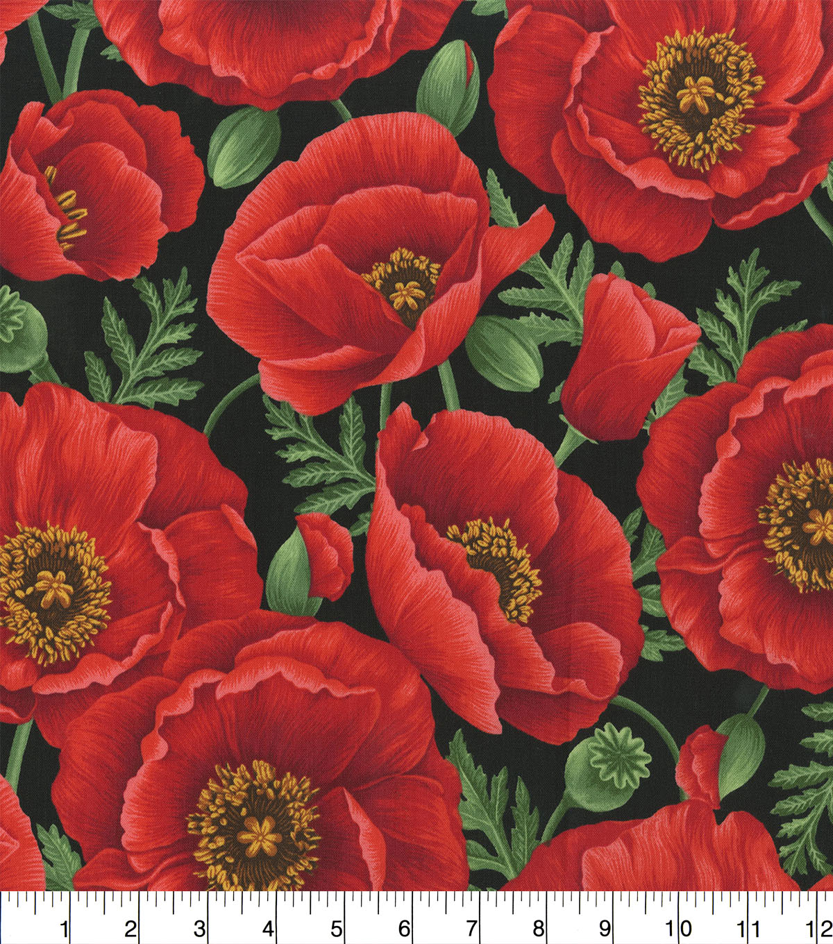 Premium Cotton Fabric-Bold Red Poppies on Black