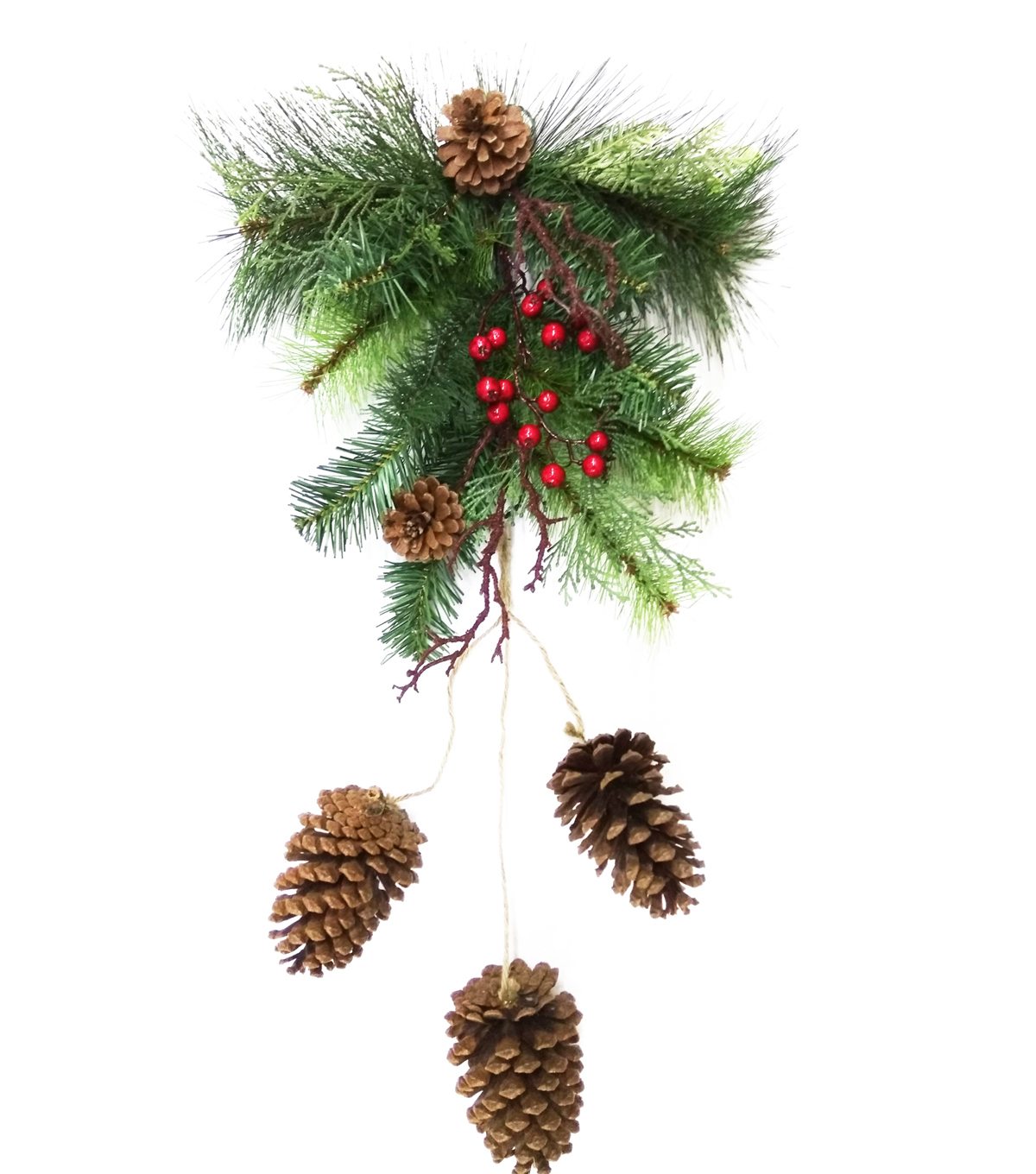 Blooming Holiday Christmas Pinecone, Berry & Greenery Wall Swag
