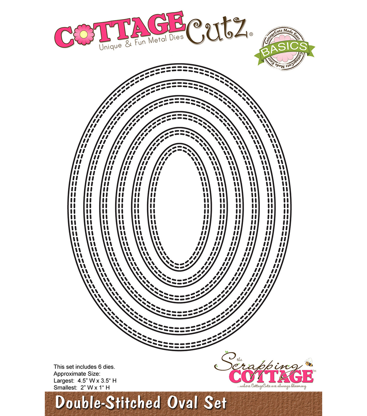 CottageCutz Basics Dies-Double Stitched Oval, 2\u0022X1\u0022 To 4.5\u0022X3.5\u0022