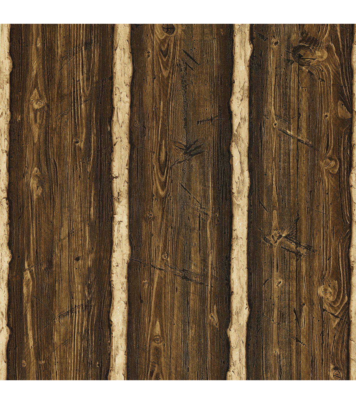 Franklin Dark Brown Rustic Pine Wood Wallpaper Sample