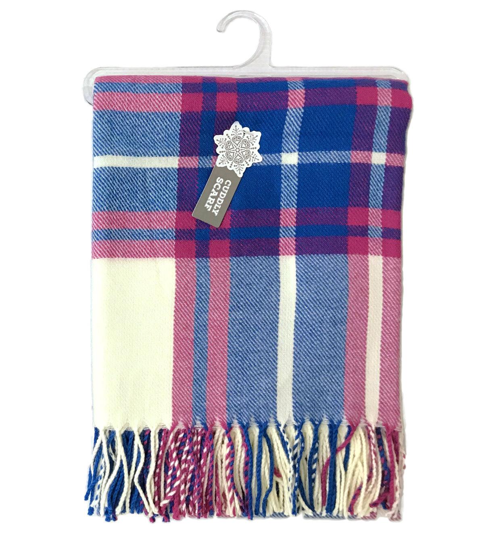 ab4a905bb10 Christmas Cuddly Blanket Scarf-Cream, Pink & Blue Plaid