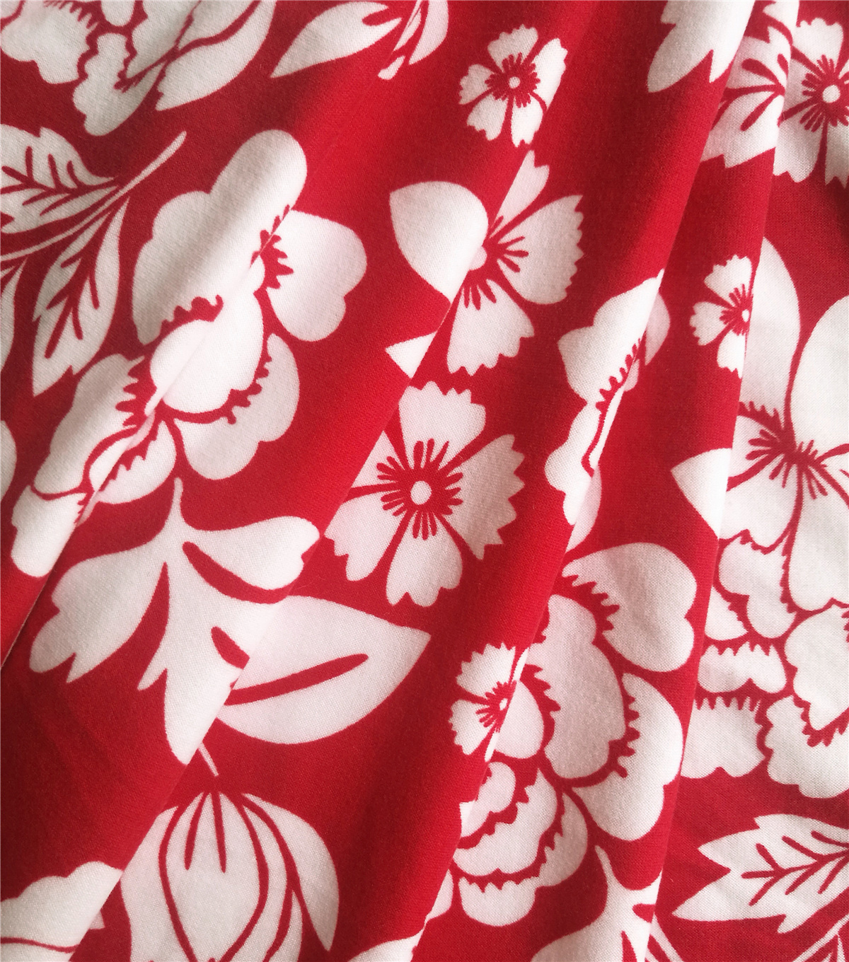 Knit Prints Double Brushed Poly Fabric-Red Femme Floral