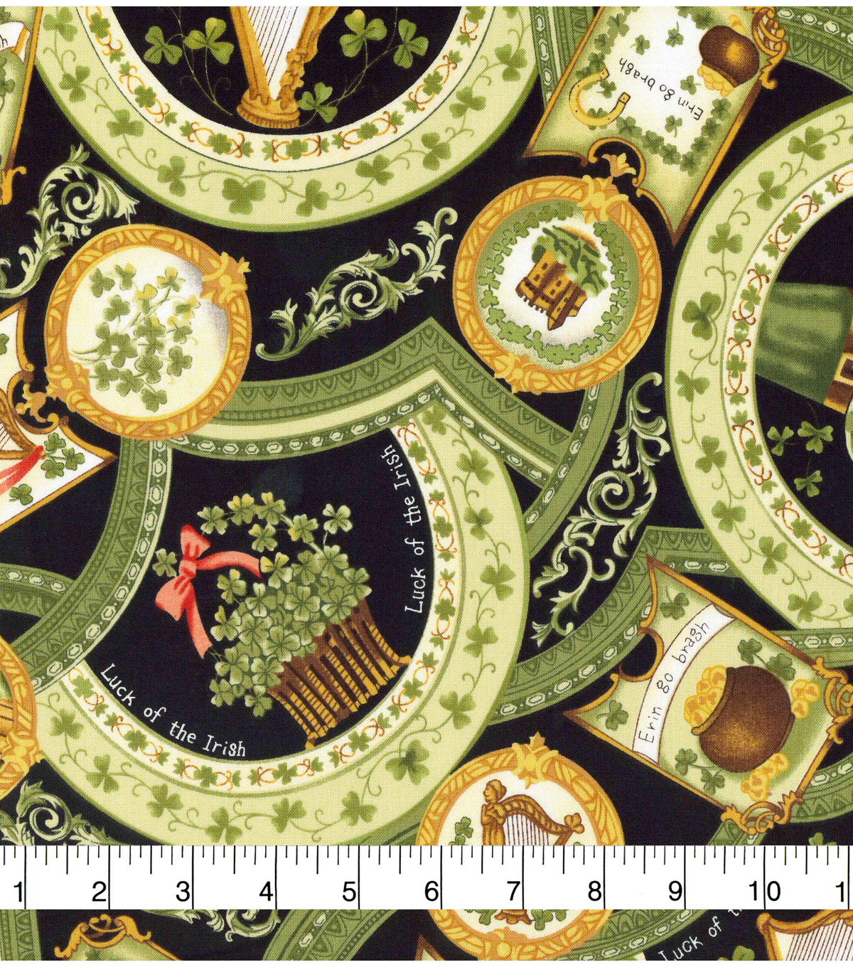 St. Patrick\u0027s Day Fabric -Vintage Luck of the Irish