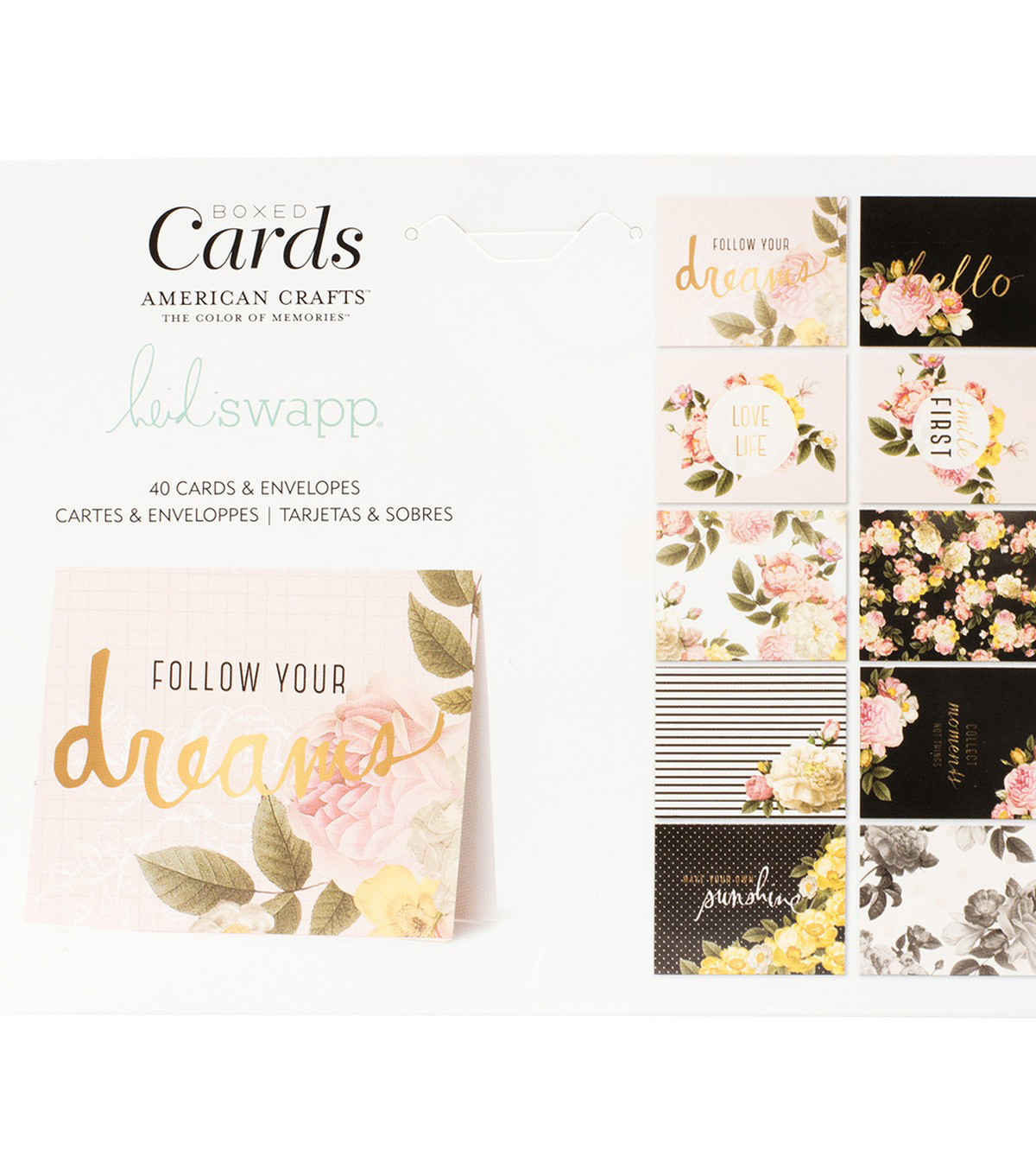 Heidi Swapp A2 Cards W/Envelopes (4.375\u0022X5.75\u0022) 40/Box-Floral