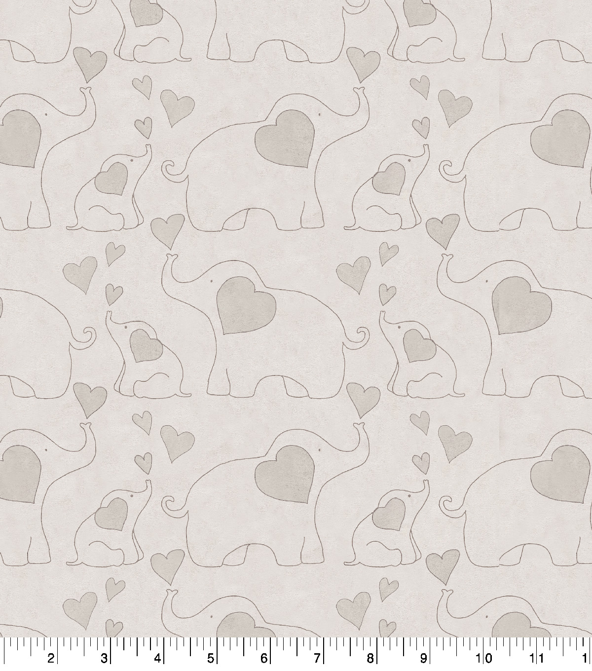 Nursery Flannel Fabric-Elephants Gray