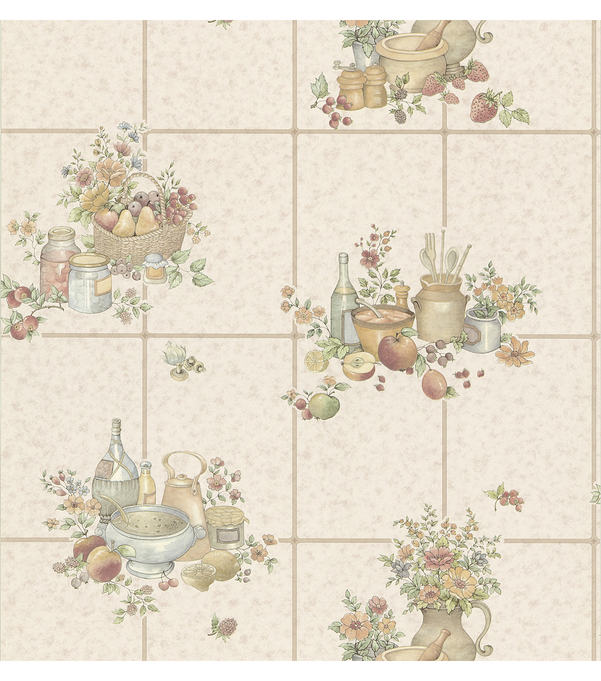 Picnic Floral  Mauve Kitchen Tiles Wallpaper Sample