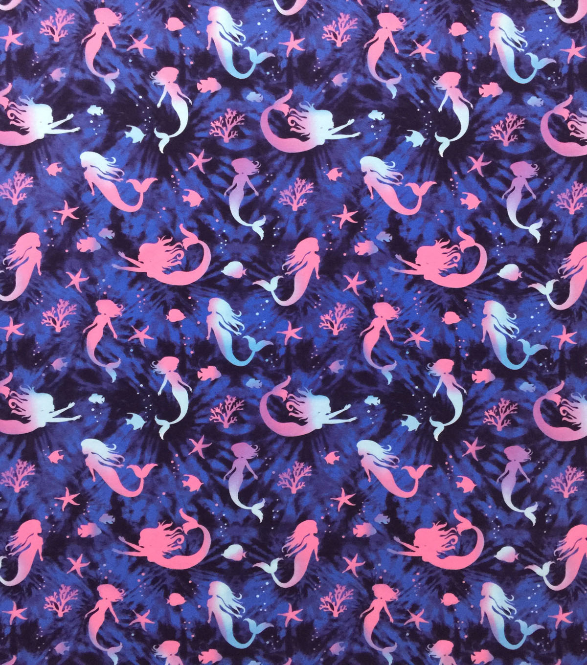 Doodles Juvenile Apparel Fabric-Blue Tie Dye Mermaids
