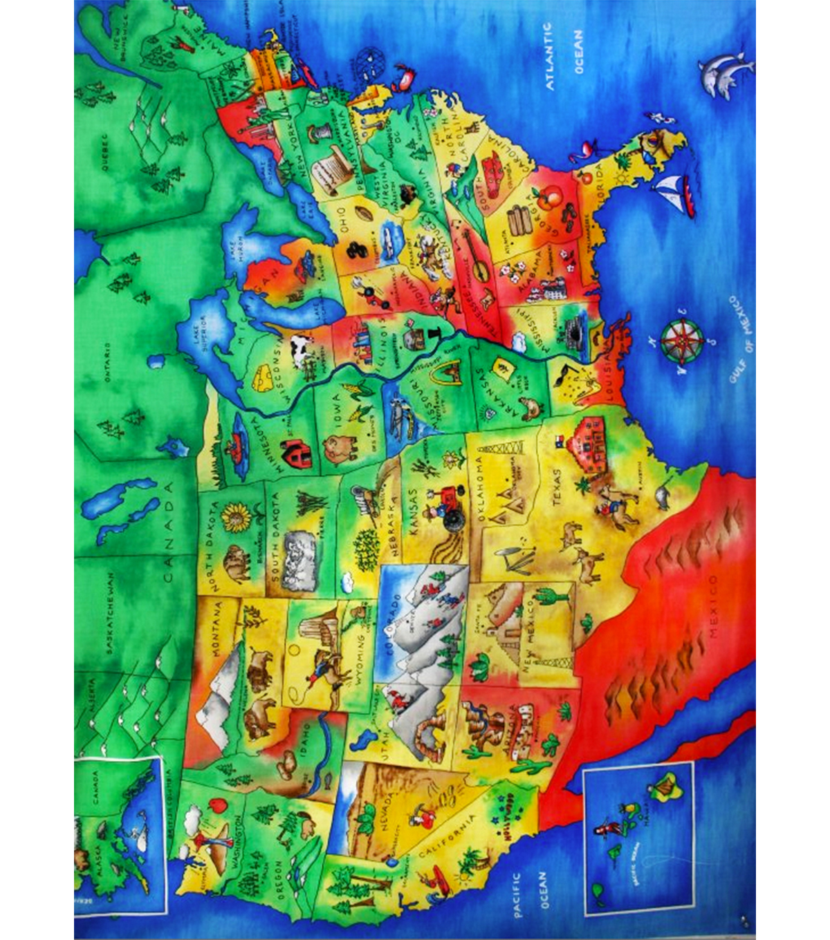 us map fabric panel United States Cotton Fabric Panel 36 State Icons Joann