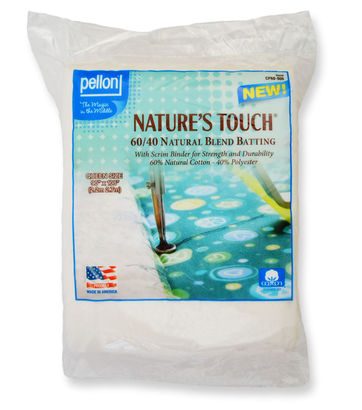 Pellon Nature\u0027s Touch 60/40 Natural Blend Batting 90\u0022x108\u0022