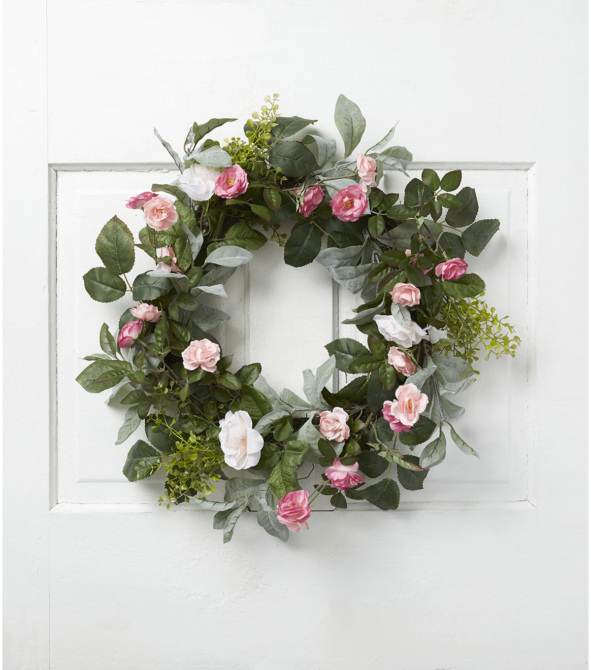 Fresh Picked Spring 22\u0027\u0027 Rose & Leaves Wreath-Pink & Fuchsia