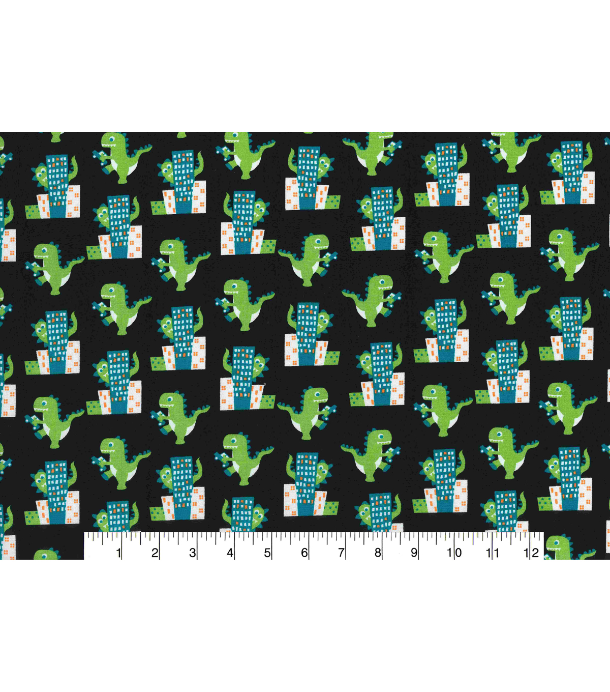 Novelty Cotton Fabric -Dinosaur in the City