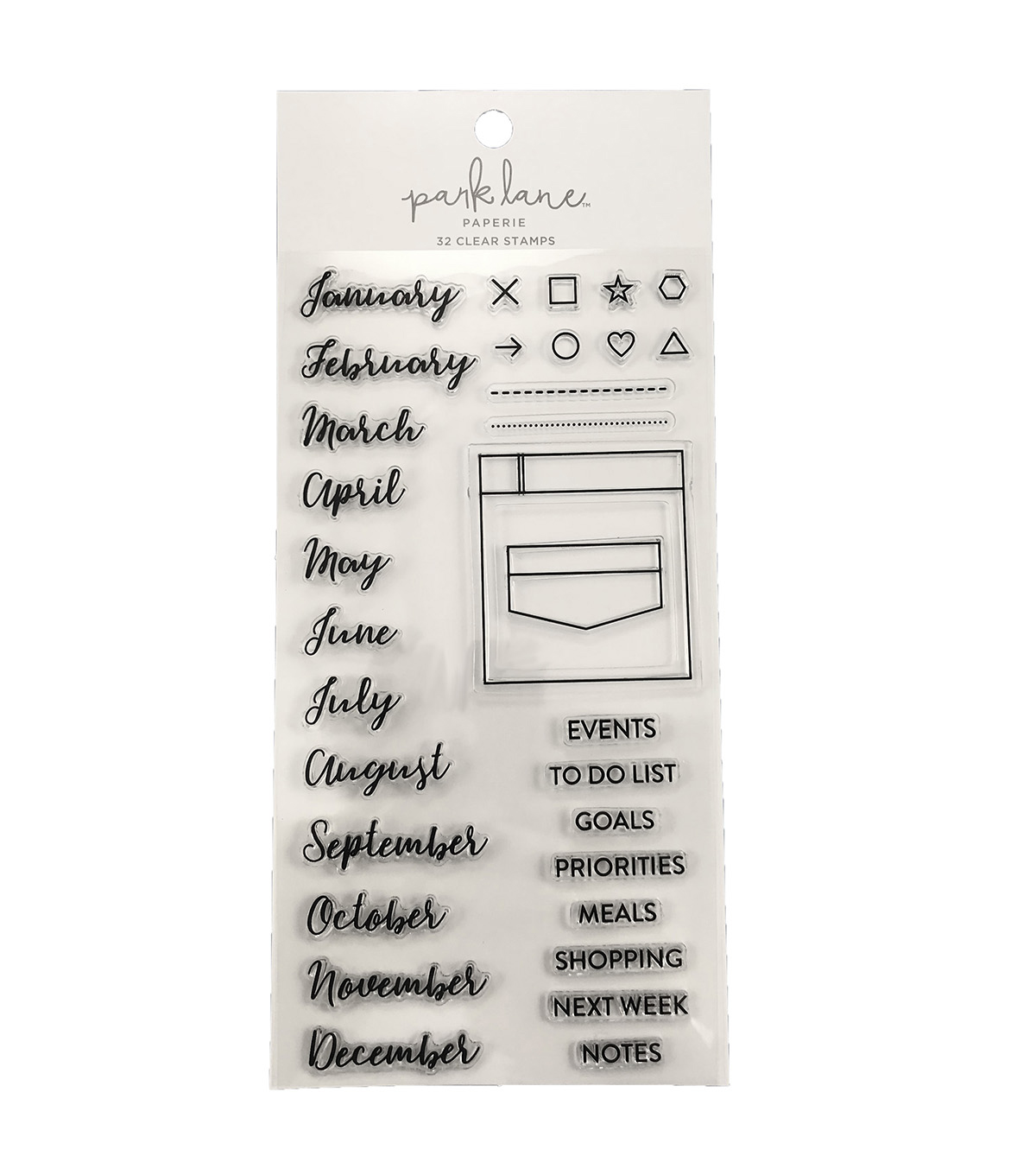 Park Lane Paperie 32 pk Clear Stamps-Monthly Planning