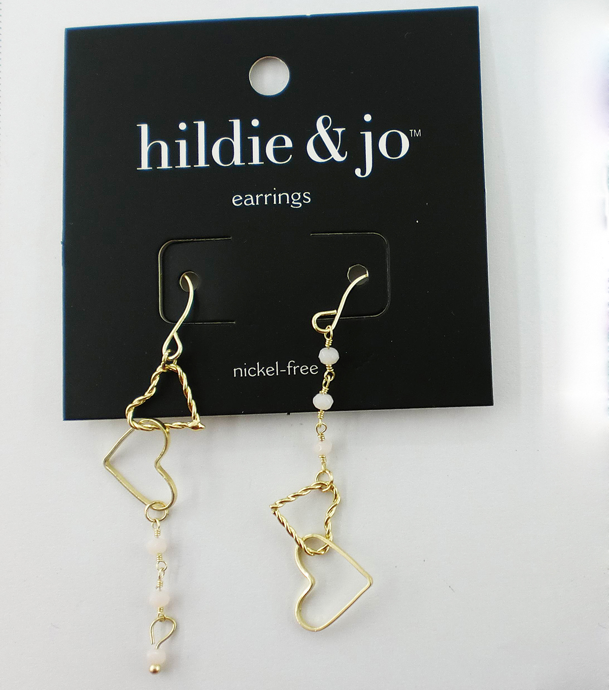 hildie & jo Linking Hearts Gold Earrings-Ivory Stones