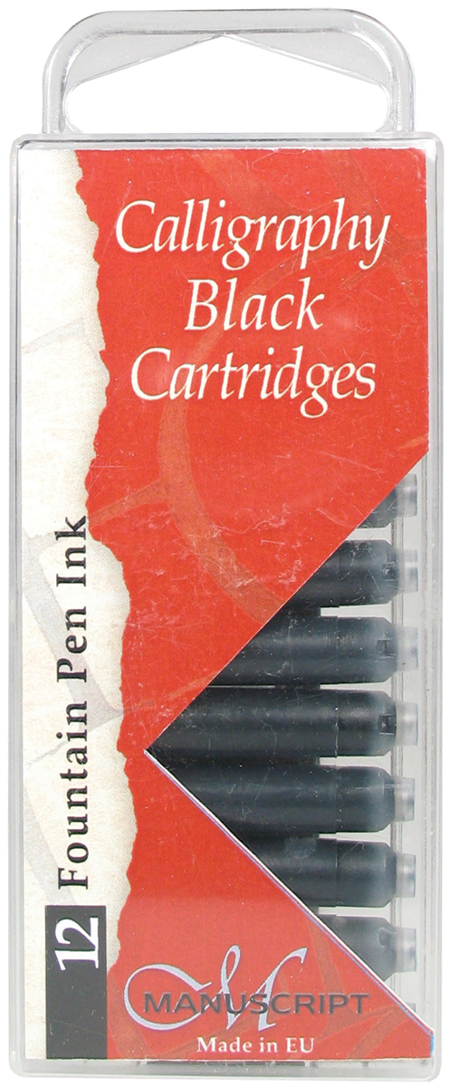 Manuscript Fountain Pen Ink Calligraphy Cartridges 12/Pkg-Black