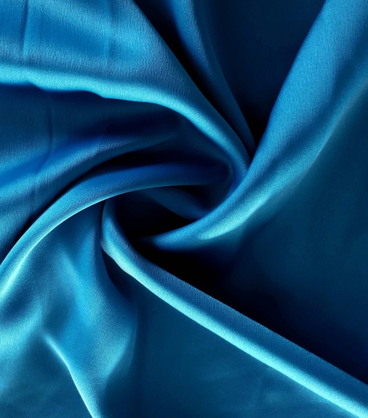 Silky Stretch Satin Fabric-Textured Solids, Mykonos Blue