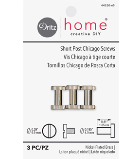 Dritz Home Short Post Chicago Screws-Nickel Finish