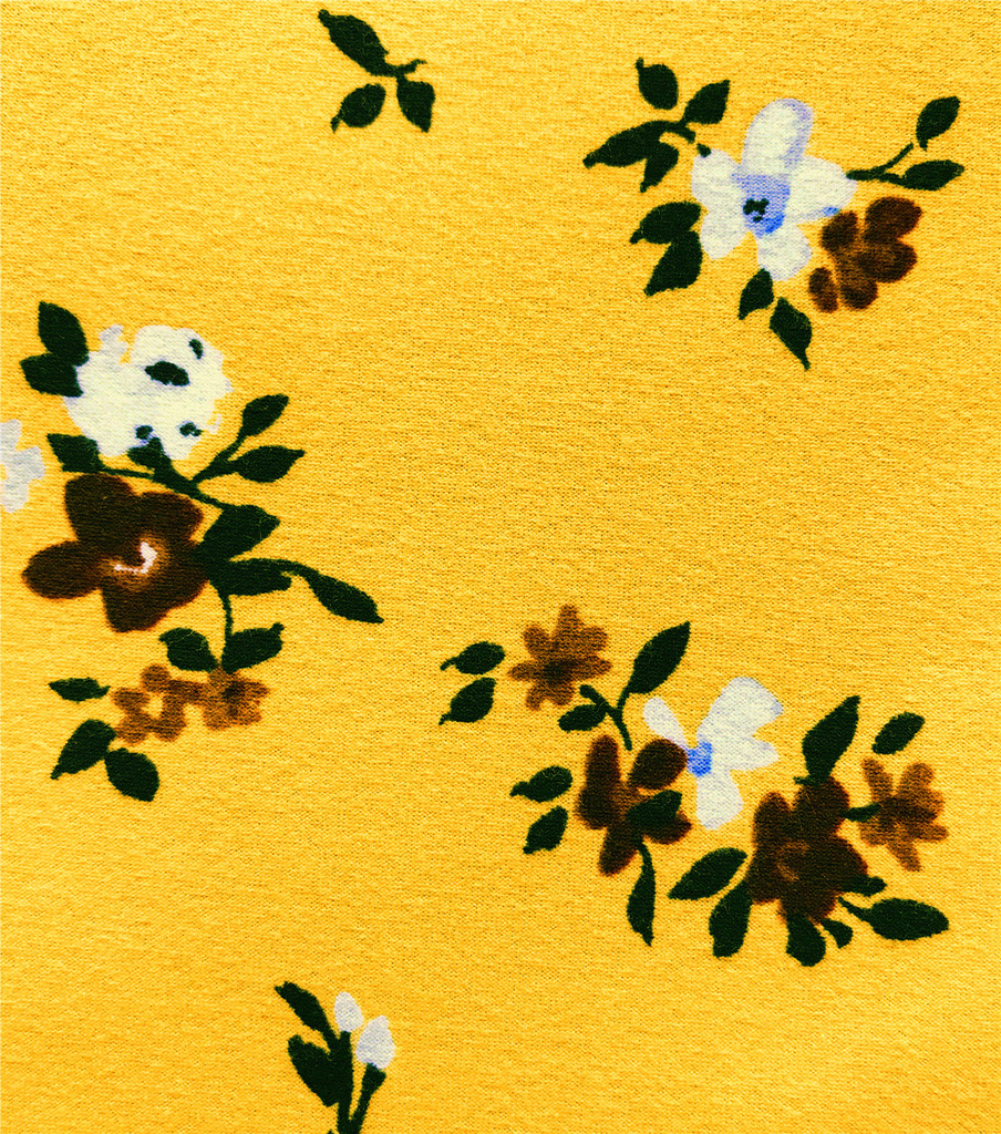 Knit Prints Double Brushed Fabric-Yellow Floral Clusters