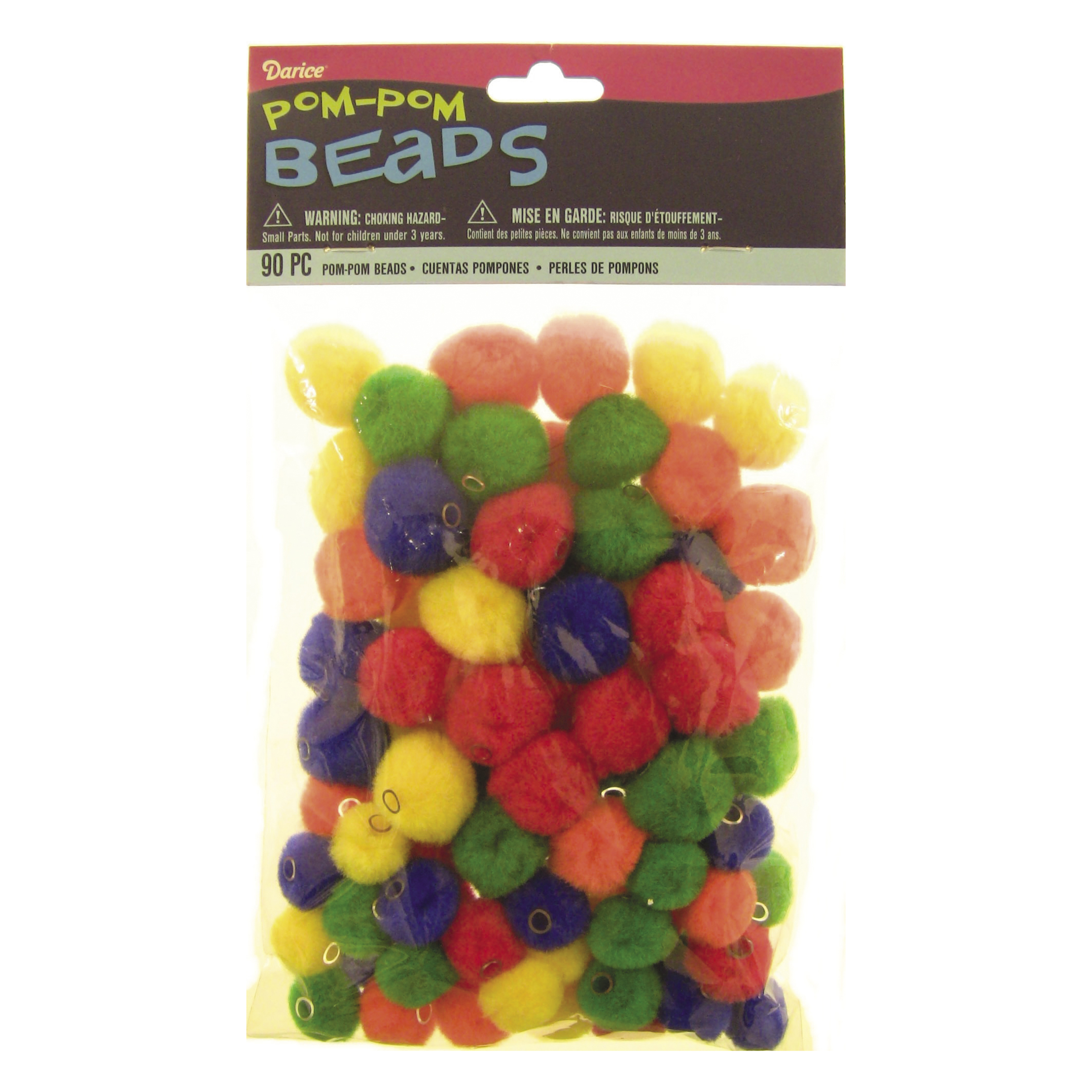 Pom Beads Ast Primary 90pc