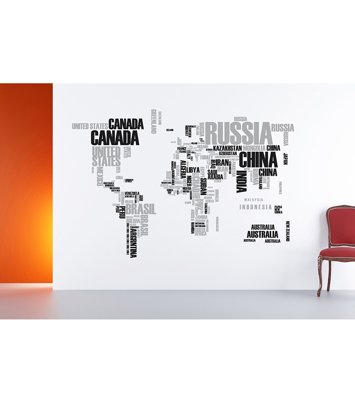 Home Decor World Map Wall Stickers, 2 Piece Set