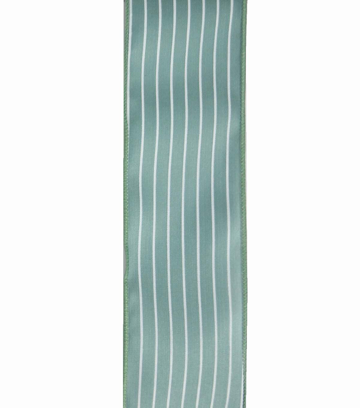 Save the Date 2.5\u0022 x 15ft Ribbon-Eucalyptus White Stripe