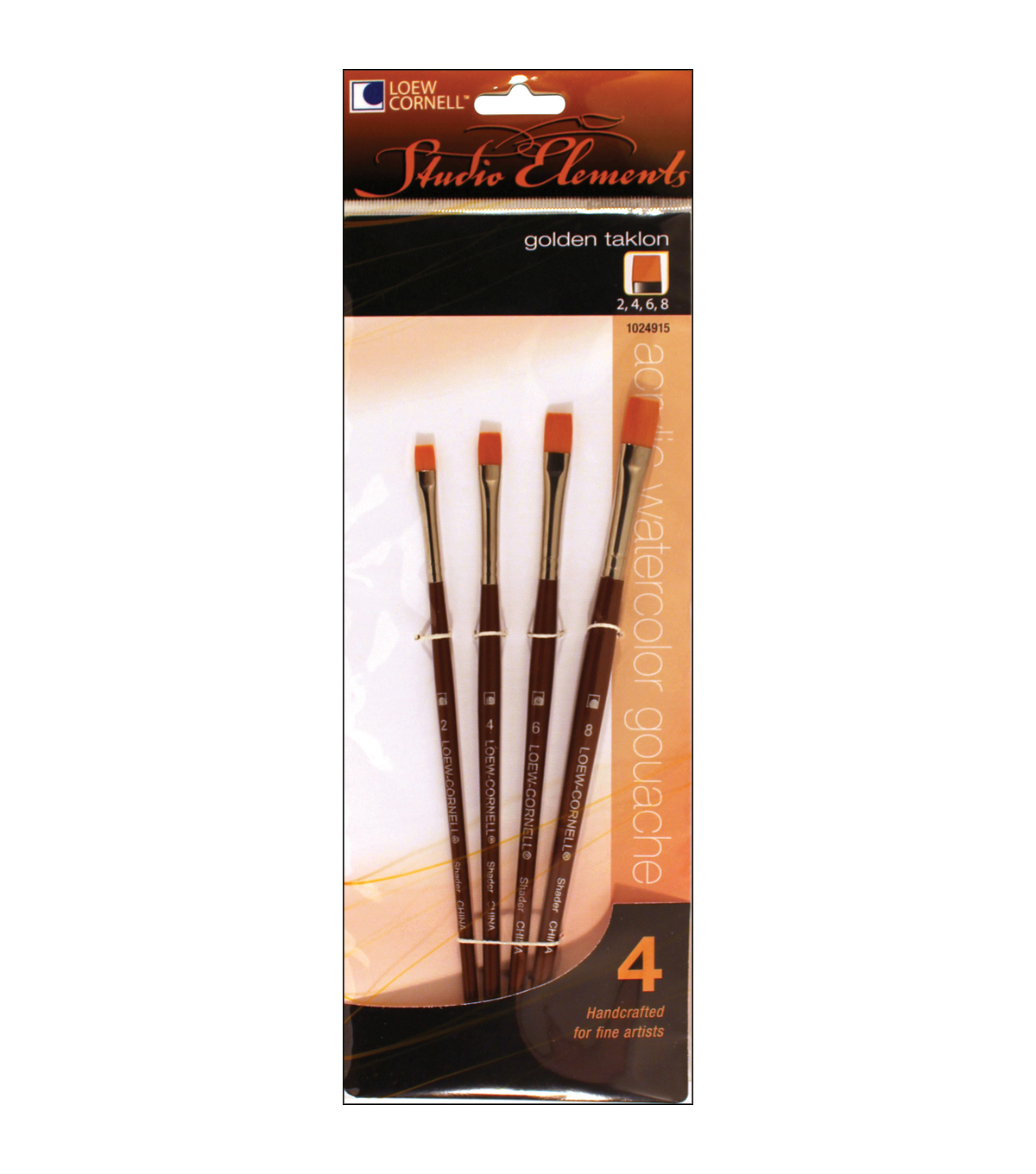 Loew-Cornell Studio Elements 4 pk Golden Taklon Brushes