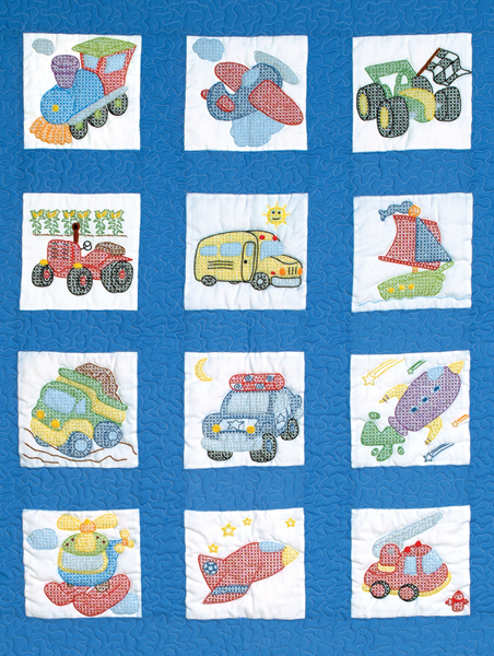Stamped White Nursery Quilt Blocks 9\u0022X9\u0022 12/Pkg-Transportation