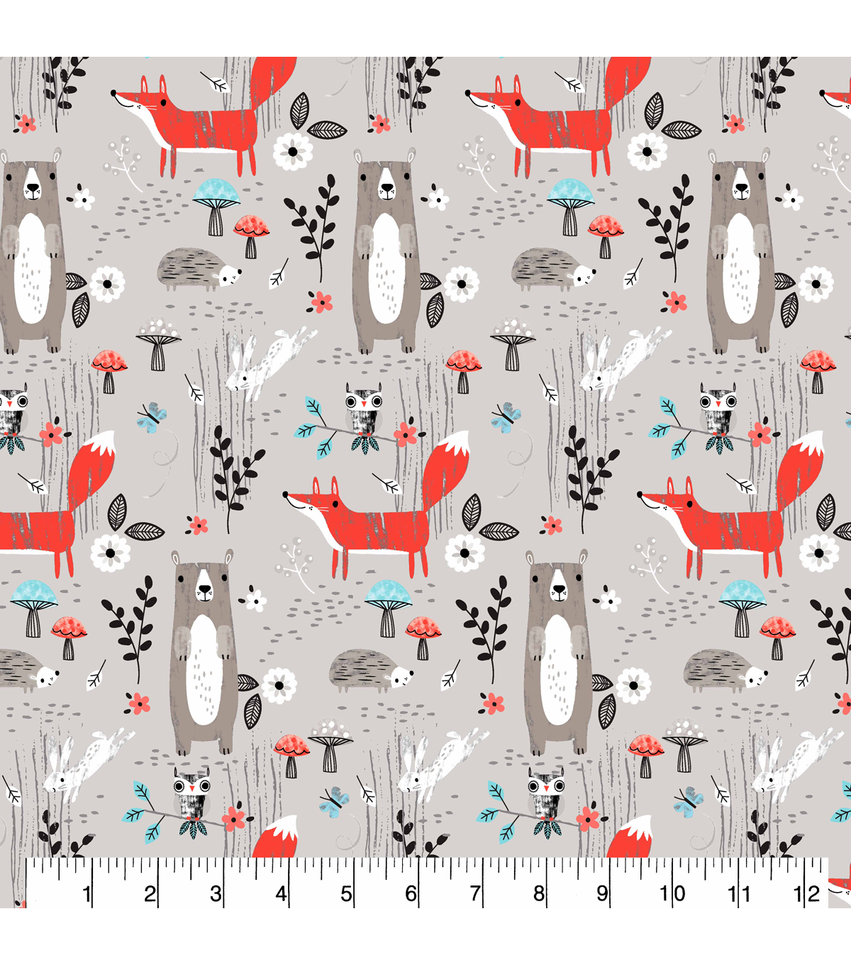 Snuggle Flannel Fabric 43\u0027\u0027-Forest Creature Scenes