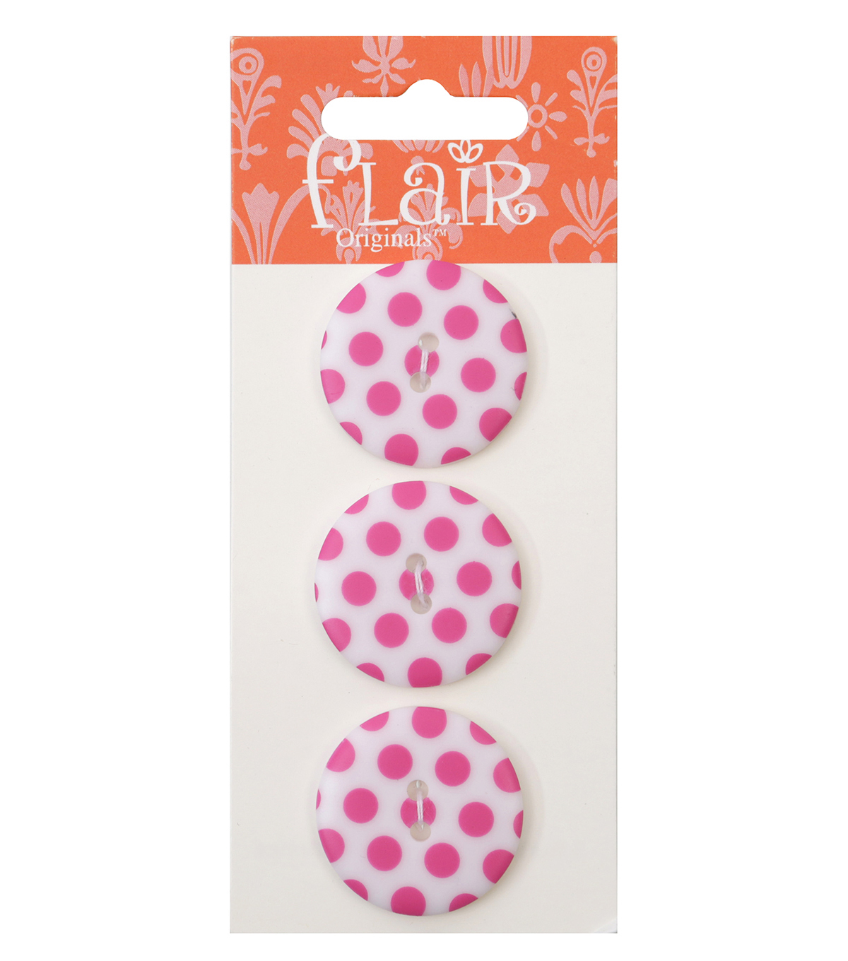 Flair Originals 3 pk 1\u0027\u0027 Buttons-Pink Polka Dots