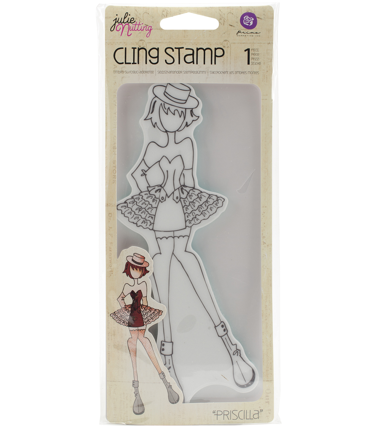 Prima Marketing Julie Nutting Mixed Media Cling Stamp-Priscilla