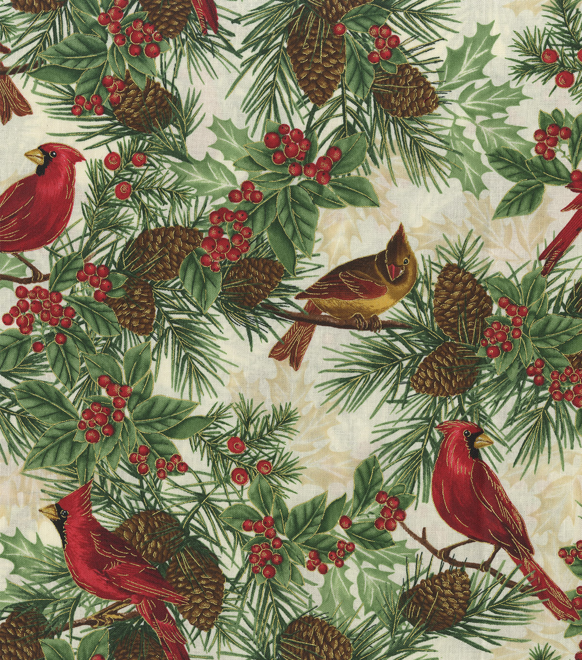Christmas Cotton Fabric-Cardnials & Pinecones Metallic