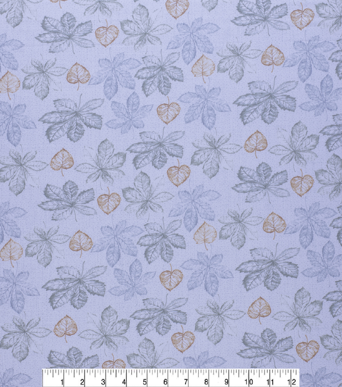 Harvest Cotton Fabric-Light Green Blue Leaves