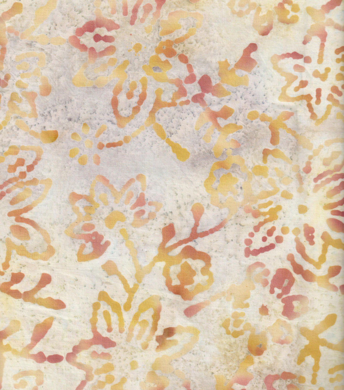 Wide Batik Cotton Fabric-Flowers on Ivory