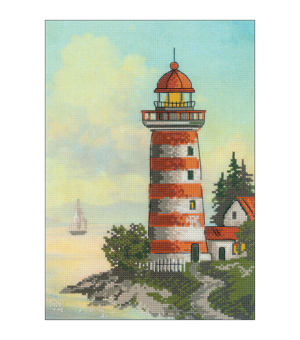 RIOLIS 8.25\u0027\u0027x11.75\u0027\u0027 Stamped Cross Stitch Kit-Lighthouse