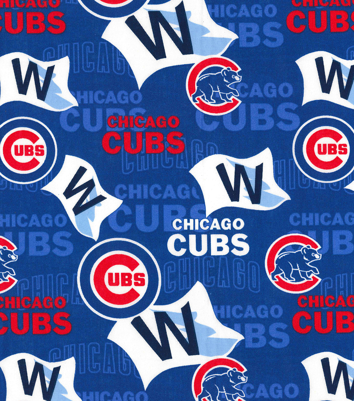 Chicago Cubs Cotton Fabric -Blue