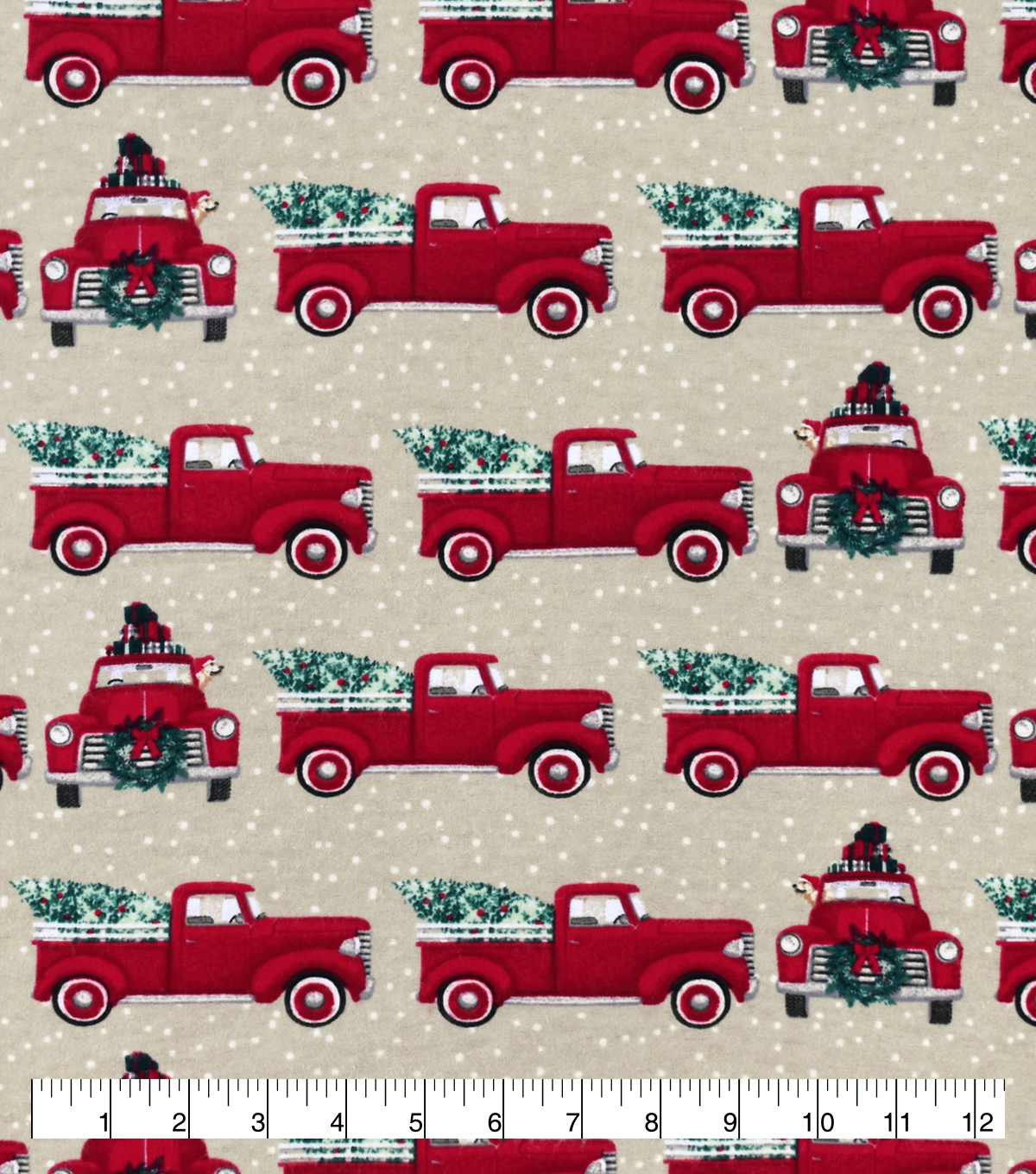 Snuggle Flannel Fabric-Red Truck Christmas Tree