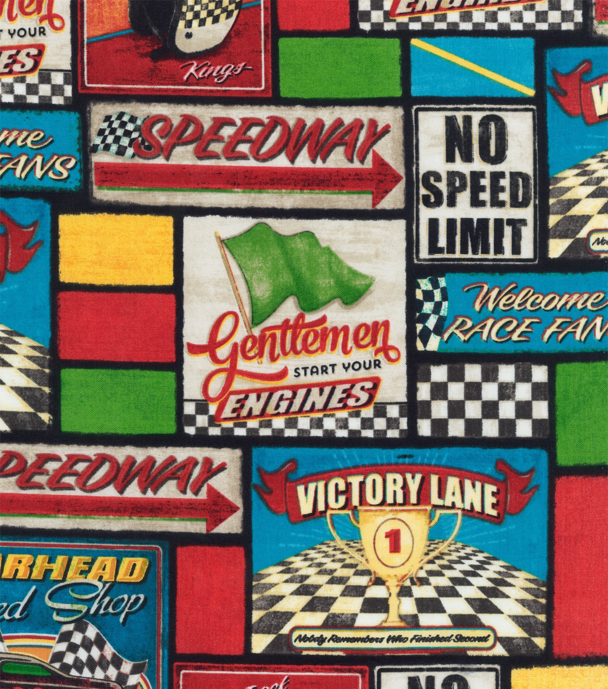 Novelty Cotton Fabric-Victory Lane Patchwork