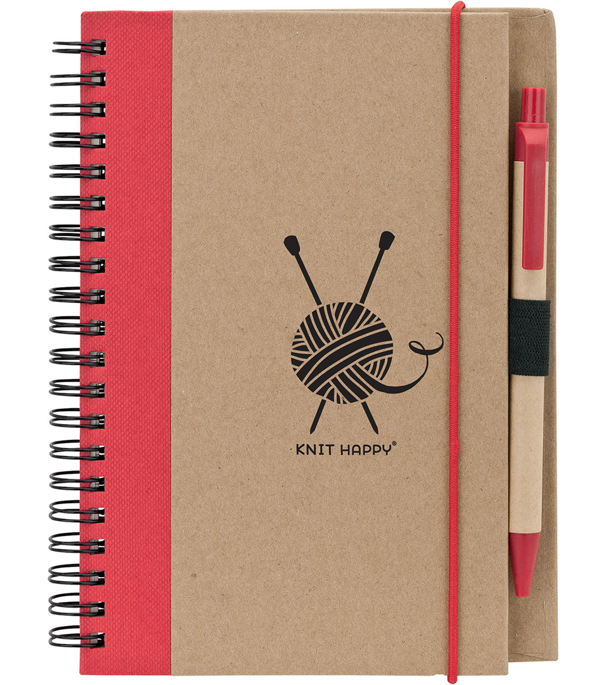 Knit Happy Eco Journal w/Pen-Red