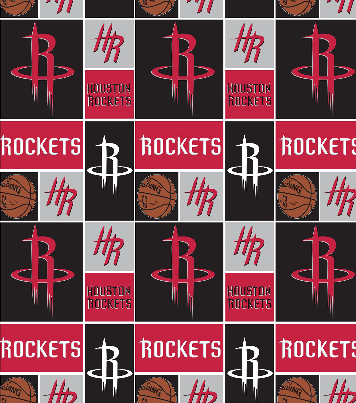 Houstan Rockets Cotton Fabric -Logo Block